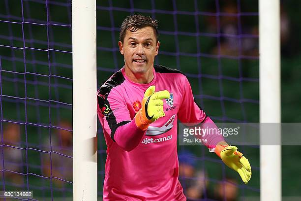 Danny Vukovic of Sydney sets his players for a free kick during the round 11 ALeague match between Perth Glory and Sydney FC at nib Stadium on...