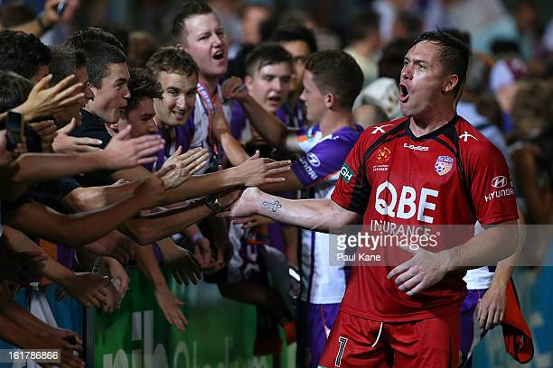 Danny Vukovic of the Glory celebrates with fans after winning the round 21 ALeague match between the Perth Glory and the Central Coast Mariners at...