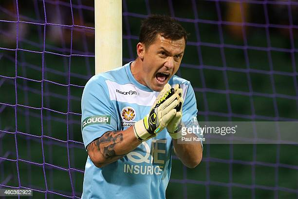 Danny Vukovic of the Glory encourages his team mates during the round 11 ALeague match between Perth Glory and Newcastle Jets at nib Stadium on...