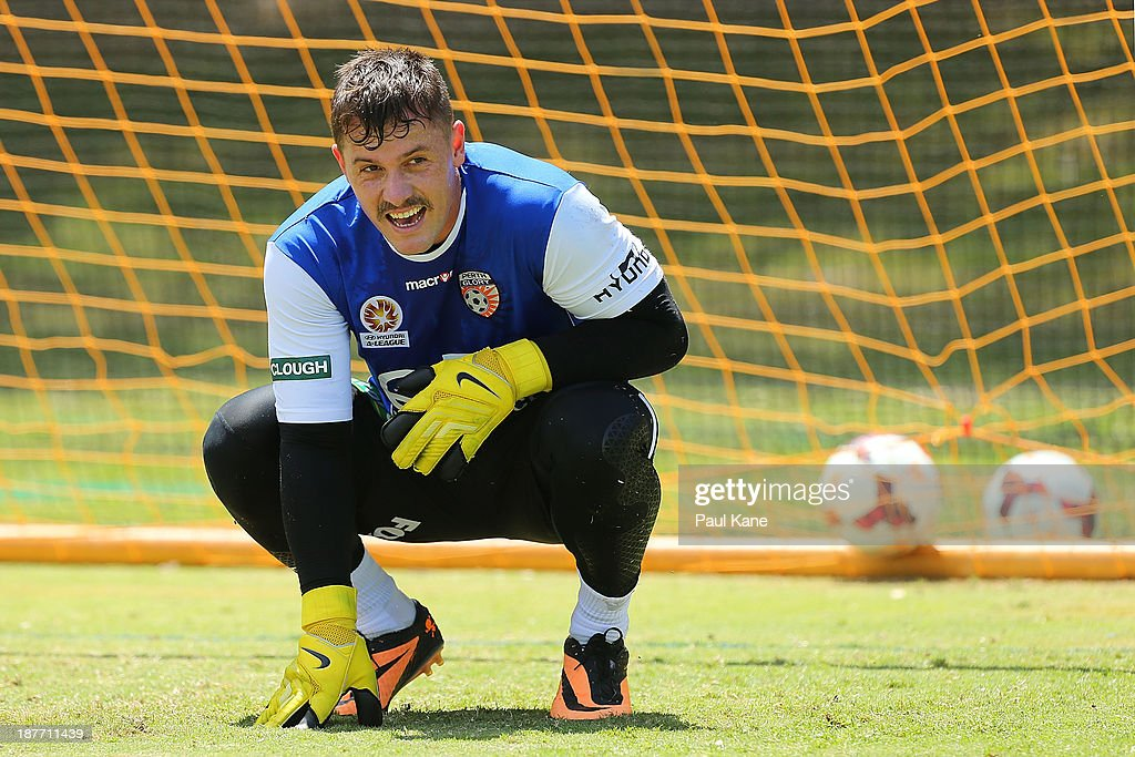 <a gi-track='captionPersonalityLinkClicked' href=/galleries/search?phrase=Danny+Vukovic&family=editorial&specificpeople=794002 ng-click='$event.stopPropagation()'>Danny Vukovic</a> of the Glory looks on during a Perth Glory A-League training session at McGillivray Oval on November 12, 2013 in Perth, Australia.