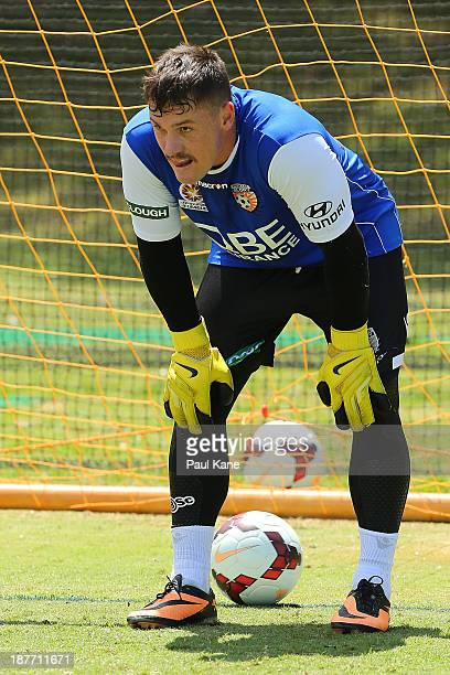 Danny Vukovic of the Glory looks on during a Perth Glory ALeague training session at McGillivray Oval on November 12 2013 in Perth Australia