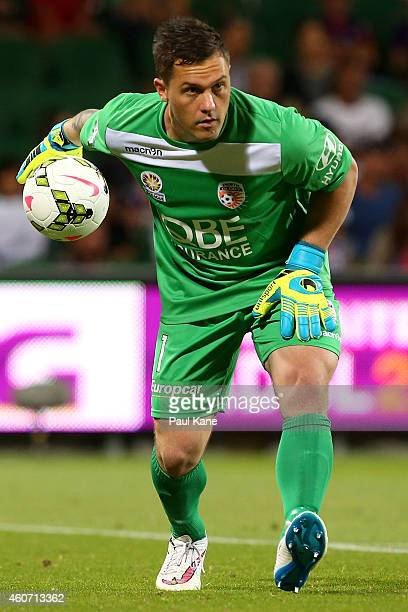 Danny Vukovic of the Glory rolls the ball out during the round 12 ALeague match between Perth Glory and Central Coast Mariners at nib Stadium on...