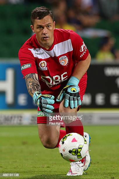 Danny Vukovic of the Glory rolls the ball out during the round 21 ALeague match between the Perth Glory and the Wellington Phoenix at nib Stadium on...