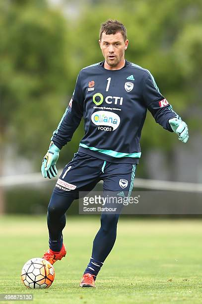Danny Vukovic of the Victory controls the ball during a Melbourne Victory ALeague training session at AAMI Park on November 27 2015 in Melbourne...