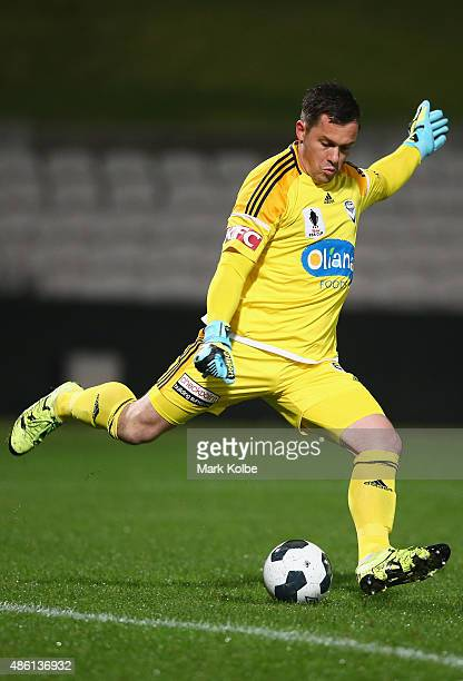 Danny Vukovic of the Victory kicks during the FFA Cup Round of 16 match between Rockdale City Suns and Melbourne Victory at WIN Jubilee Stadium on...