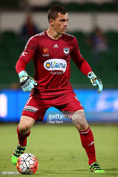 Danny Vukovic of the Victory looks to pass the ball during the round 17 ALeague match between Perth Glory and Melbourne Victory at nib Stadium on...
