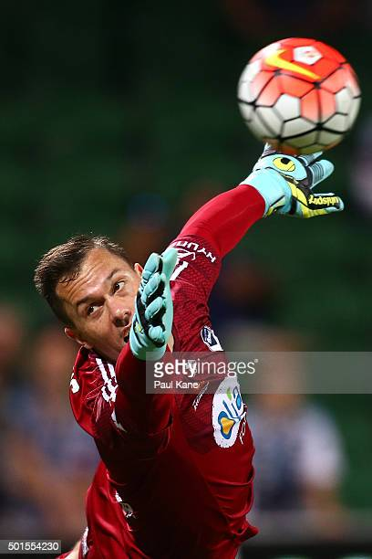 Danny Vukovic of the Victory saves a shot on goal during the round five ALeague match between the Perth Glory and Melbourne Victory at nib Stadium on...