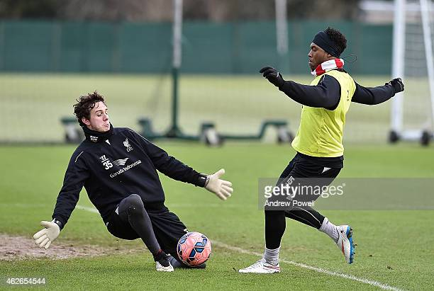 Danny Ward and Daniel Sturridge of Liverpool during a training session at Melwood Training Ground on February 2 2015 in Liverpool England