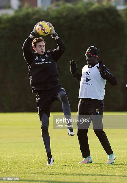Danny Ward and Mamadou Sakho of Liverpool in action during a training session at Melwood Training Ground on January 15 2015 in Liverpool England