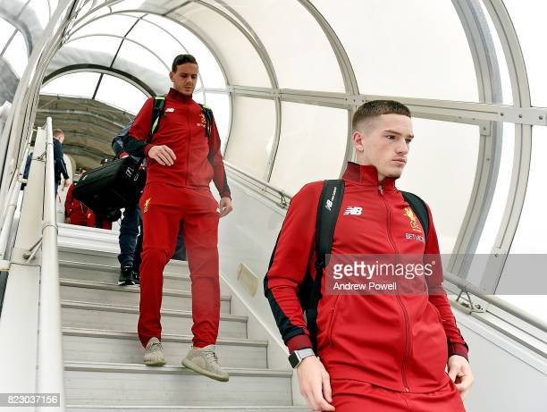 Danny Ward and Ryan Kent of Liverpool arriving at Munich International Airport for the pre season training camp on July 26 2017 in Munich Germany