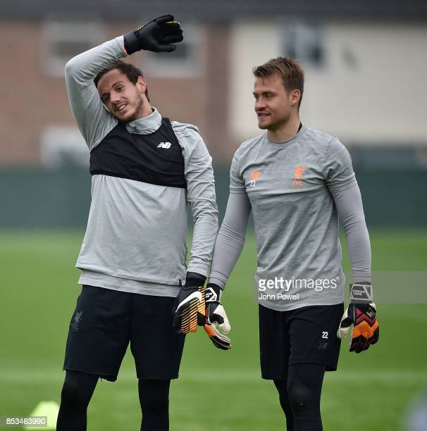 Danny Ward and Simon Mignolet of Liverpool during a training session at Melwood Training Ground on September 25 2017 in Liverpool England
