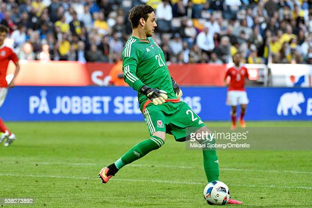 Danny Ward goalkeeper of Wales during the international friendly between Sweden and Wales at Friends Arena on June 5 2016 in Solna Sweden