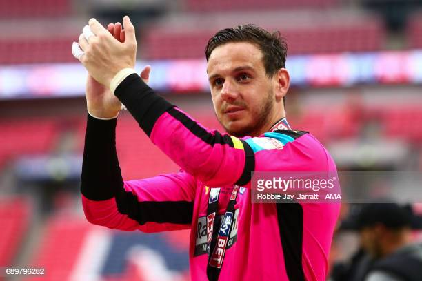 Danny Ward of Huddersfield Town applauds the fans during the Sky Bet Championship Play Off Final match between Reading and Huddersfield Town at...