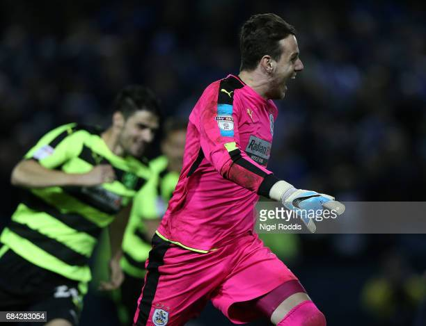 Danny Ward of Huddersfield Town celebrates after he saved the final penalty to send his team through to the final after the Sky Bet Championship play...