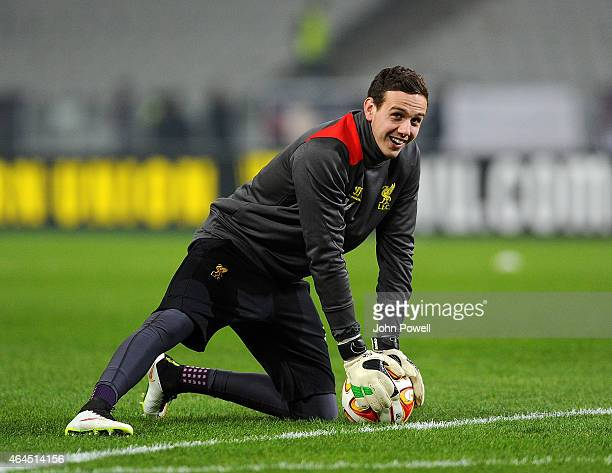 Danny Ward of Liverpool before the UEFA Europa League Round of 32 match between Besiktas JK and Liverpool FC on February 26 2015 in Istanbul Turkey