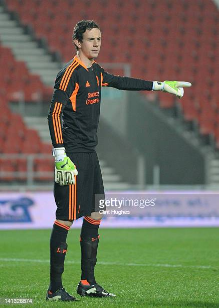Danny Ward of Liverpool directs his defence during the NextGen Series SemiFinal match between Liverpool U19 and Ajax U19 at Langtree Park on March 14...