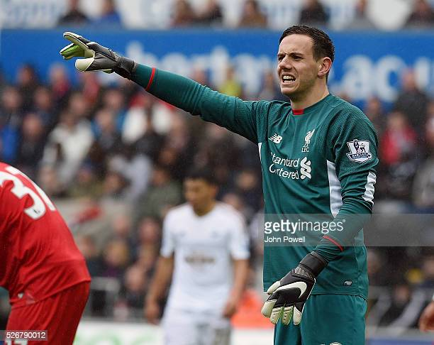 Danny Ward of Liverpool during a Premier League match between Swansea City and Liverpool at the Liberty Stadium on May 01 2016 in Swansea Wales