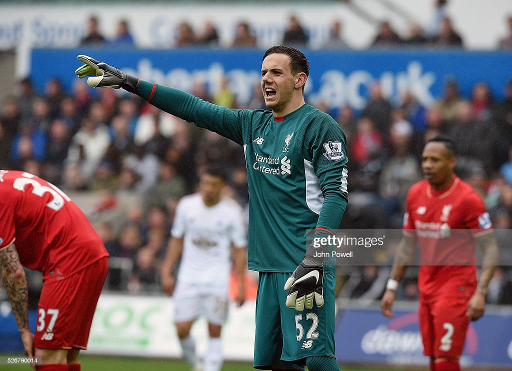 Danny Ward of Liverpool during a Premier League match between Swansea City and Liverpool at the Liberty Stadium on May 01, 2016 in Swansea, Wales.