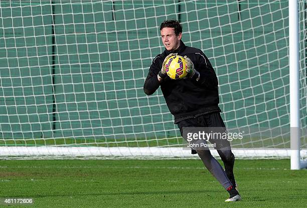 Danny Ward of Liverpool during a training session at Melwood Training Ground on January 8 2015 in Liverpool England