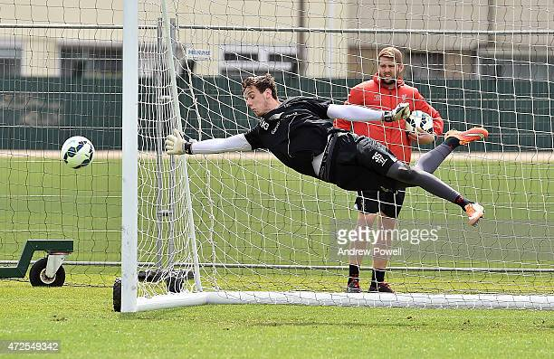 Danny Ward of Liverpool during a training session at Melwood Training Ground on May 8 2015 in Liverpool England