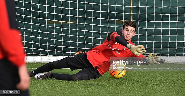 Danny Ward of Liverpool during a training session at Melwood Training Ground on February 12 2016 in Liverpool England