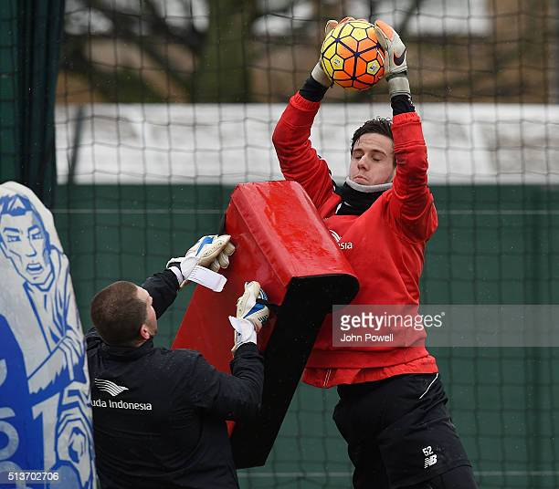 Danny Ward of Liverpool during a training session at Melwood Training Ground on March 4 2016 in Liverpool England