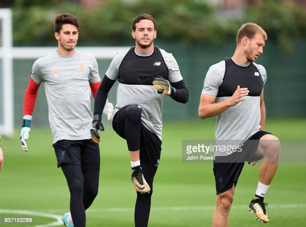 Danny Ward of Liverpool during a training session at Melwood training ground on August 22 2017 in Liverpool England