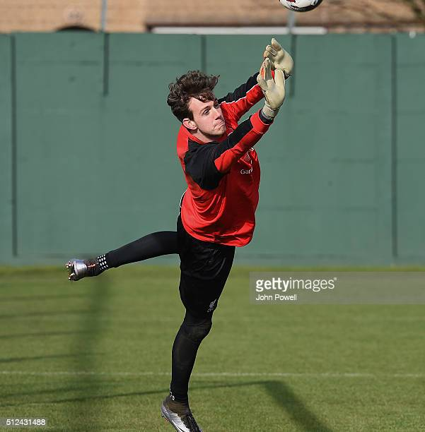 Danny Ward of Liverpool during a training session prior Capital One Cup Final match on February 26 2016 in Liverpool United Kingdom