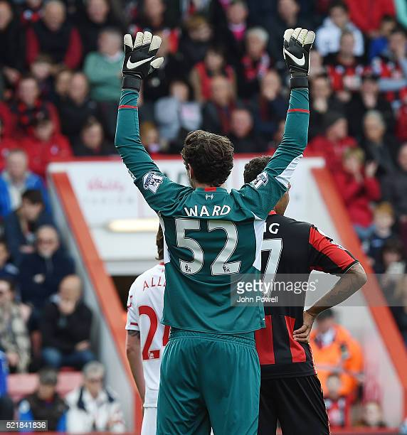 Danny Ward of Liverpool during the Barclays Premier League match between AFC Bournemouth and Liverpool at Vitality Stadium on April 17 2016 in...