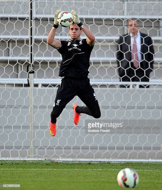 Danny Ward of Liverpool in action during a training session at Princeton University on July 28 2014 in Princeton New Jersey
