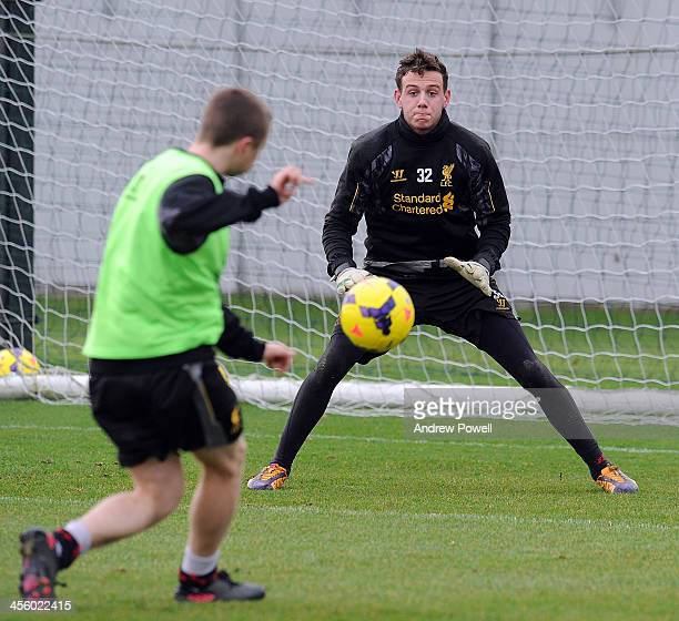 Danny Ward of Liverpool in action during a training session at Melwood Training Ground on December 13 2013 in Liverpool England