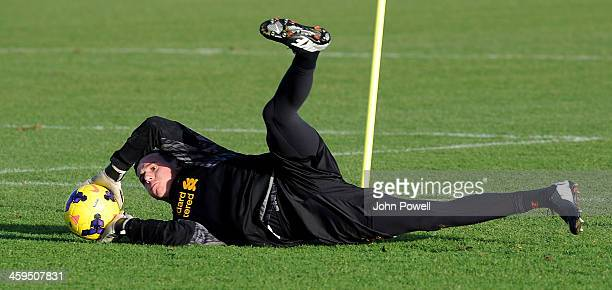 Danny Ward of Liverpool in action during a training session at Melwood Training Ground on December 27 2013 in Liverpool England