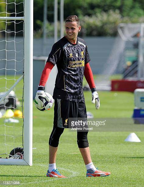 Danny Ward of Liverpool looks on during a training session at Melwood Training Ground on July 11 2013 in Liverpool England