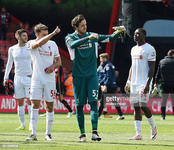 Danny Ward of Liverpool shows his appreciation to the fans at the end of the Barclays Premier League match between AFC Bournemouth and Liverpool at...