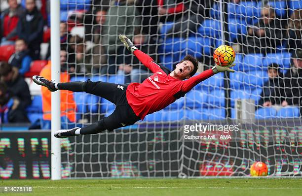 Danny Ward of Liverpool warms up before the Barclays Premier League match between Crystal Palace and Liverpool at Selhurst Park on March 6 2016 in...