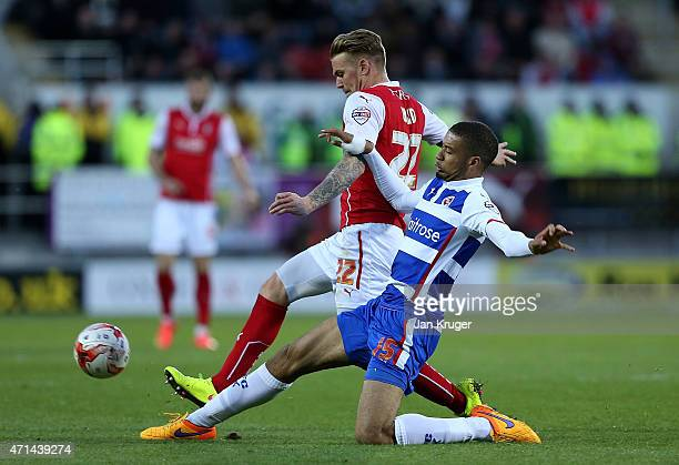 Danny Ward of Rotherham competes with Michael Hector of Reading during the Sky Bet Championship match between Rotherham United and Reading at The New...