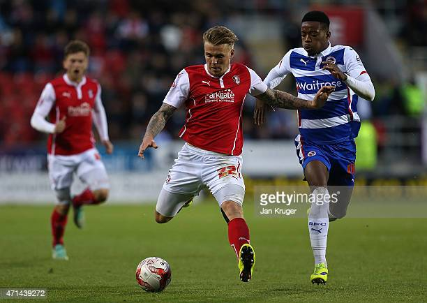 Danny Ward of Rotherham competes with Nathaniel Chalobah of Reading during the Sky Bet Championship match between Rotherham United and Reading at The...