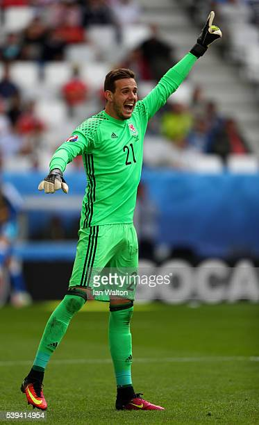 Danny Ward of Wales gestures during the UEFA EURO 2016 Group B match between Wales and Slovakia at Stade Matmut Atlantique on June 11 2016 in...