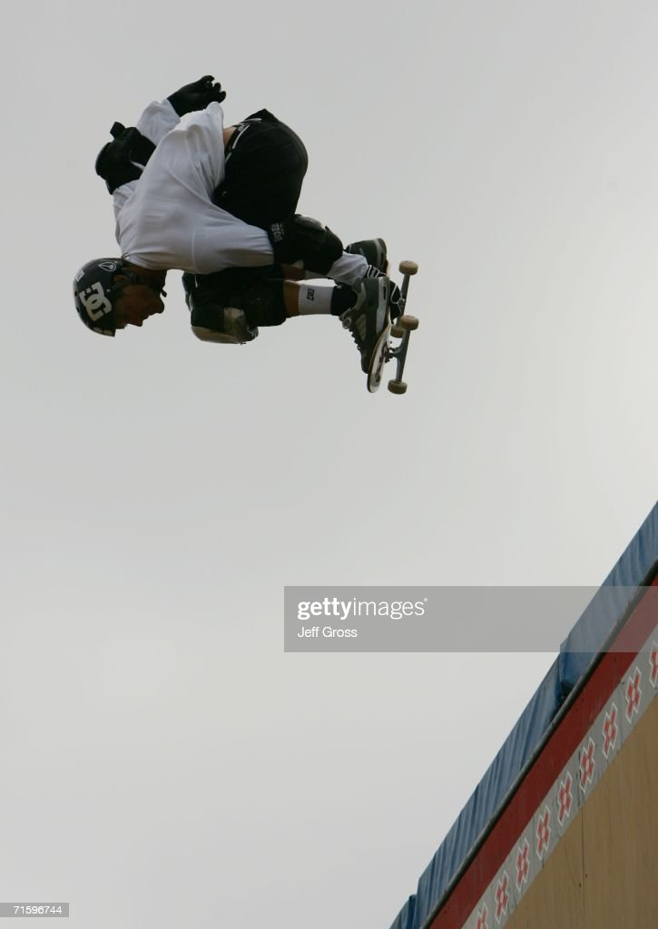 Danny Way competes in the Skateboard Big Air Final during the ESPN X Games on August 6 2006 at the Home Depot Center in Carson California