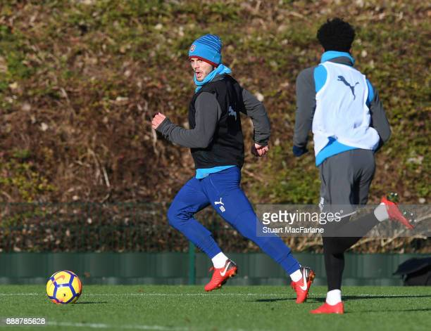 Danny Welbeck and Ainsley MaitlandNiles of Arsenal during a training session at London Colney on December 9 2017 in St Albans England