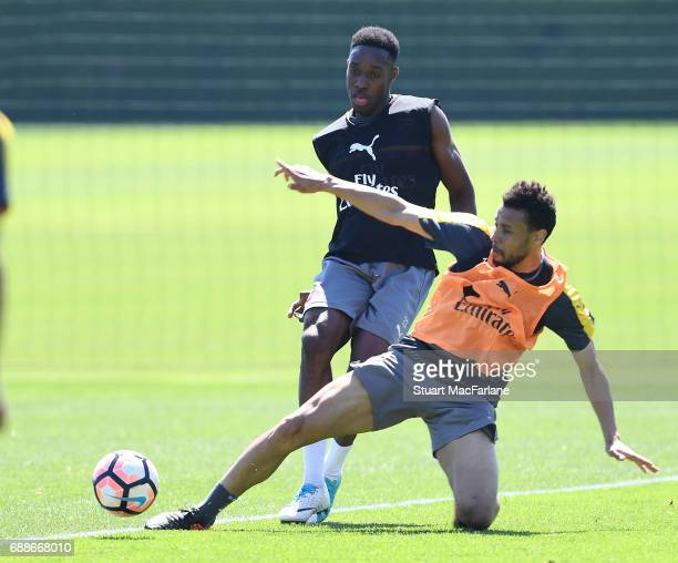 Danny Welbeck and Francis Coquelin of Arsenal during a training session at London Colney on May 26 2017 in St Albans England
