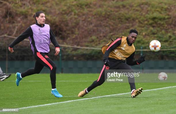 Danny Welbeck and Hector Bellerin of Arsenal during an Arsenal Training Session at London Colney on December 6 2017 in St Albans England
