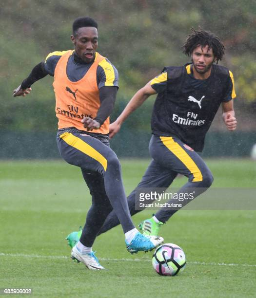 Danny Welbeck and Mohamed Elneny of Arsenal during a training session at London Colney on May 20 2017 in St Albans England