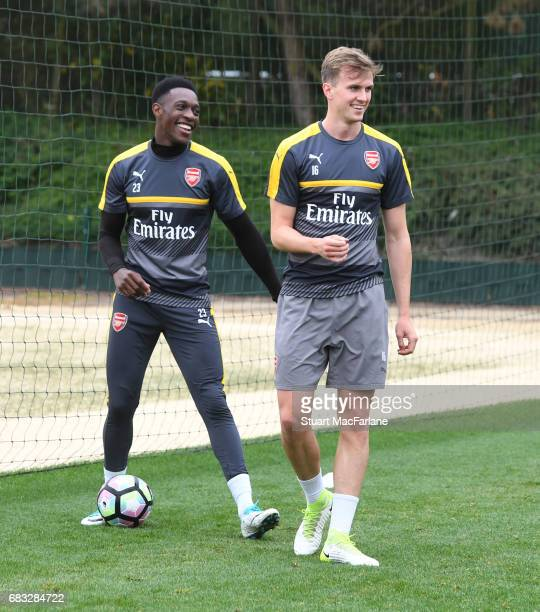 Danny Welbeck and Rob Holding of Arsenal during a training session at London Colney on May 15 2017 in St Albans England