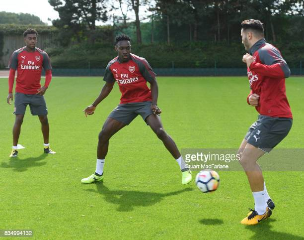 Danny Welbeck and Sead Kolasinac of Arsenal during a training session at London Colney on August 18 2017 in St Albans England