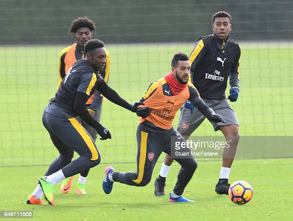 Danny Welbeck and Theo Walcott of Arsenal during a training session at London Colney on March 1 2017 in St Albans England