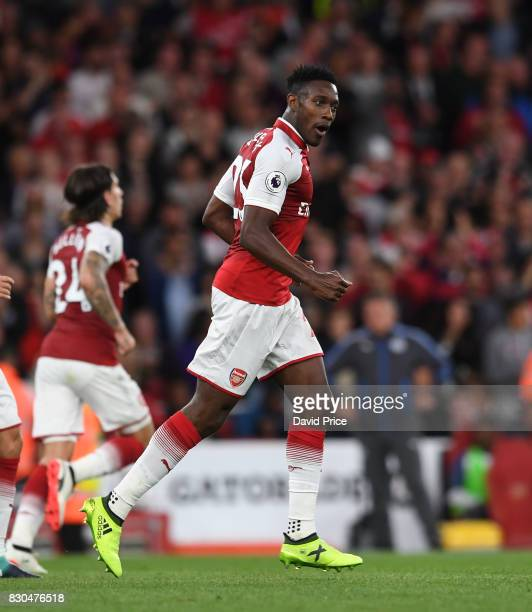 Danny Welbeck celebrates scoring Arsenal's 2nd during the Premier League match between Arsenal and Leicester City at Emirates Stadium on August 11...