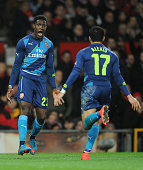 Danny Welbeck celebrates scoring Arsenal's 2nd goal with Alexis Sanchez during the match between Manchester United and Arsenal in the FA Cup 6th...