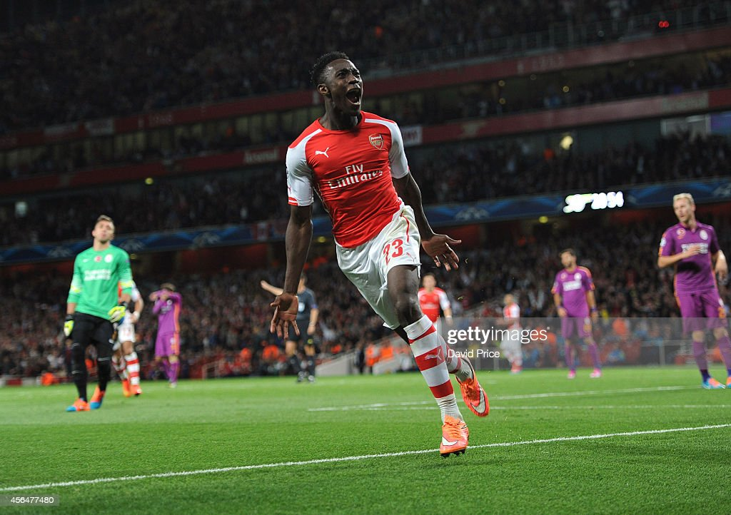 Danny Welbeck celebrates scoring Arsenal's 4th goal and his 3rd during the UEFA Champions League group match between Arsenal and Galatasaray on...