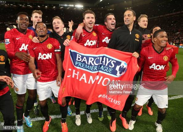 Danny Welbeck David de Gea Patrice Evra Phil Jones Michael Carrick Robin van Persie Rio Ferdinand Anders Lindegaard and Antonio Valencia of...